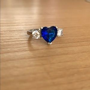 Sterling Silver Sapphire Heart Stone Size 6